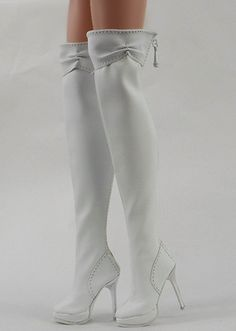 "Fashion White Antoinette Ellowyne Wilde Shoes Boots 16"" Tonner Doll 9 EB 2 