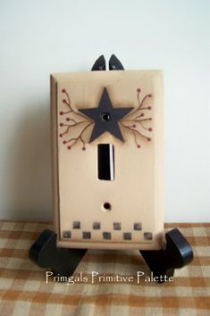 Primitive Switchplate Cover Wood Lightswitch Handpainted Home Decor Wall Decoration