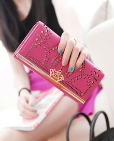 New 2014 Casual women female pu leather long zipper hasp cutout crown wallets passport purses carteira feminina,Free Shipping-inWallets from...