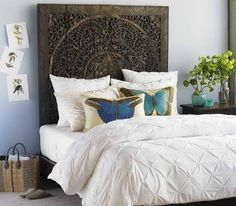 Looking for DIY Headboard Ideas? There are numerous inexpensive ways to develop a special one-of-a-kind headboard. We share a few fantastic DIY headboard ideas, to inspire you to style your room posh or rustic, whichever you choose. Dream Bedroom, Home Bedroom, Bedroom Decor, Bedroom Ideas, Master Bedrooms, Bedroom Styles, Wall Decor, Headboard Designs, Headboard Ideas