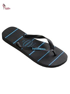 Havaianas Homme Top Stripes Logo Flip Flops, Bleu, 45/46 EU (43/44 BR) - Chaussures havaianas (*Partner-Link)