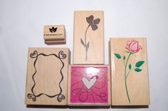 Rubber Stamp Set of 5 Stamps Flowers Heart Rose CUTE! #Various