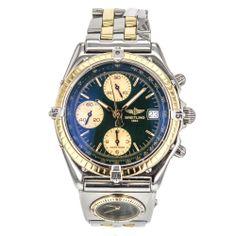 Men's Breitling Chronomat D13050 Dual Time 18k Gold & Stainless Steel Watch #Breitling #Dress