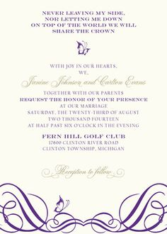 Royal Flutter design from The Plume Collection ready-to-order wedding/event invitations.