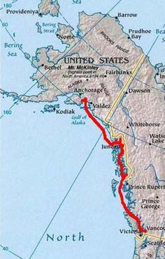 map of alaska cruise routes - Google Search One of two major routes. This route is usually tan by folks who then proceed to Denali   Call,us to arrange your cruise or cruise tour AlaskaPersonalTours 888-850-7273