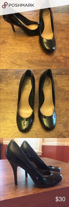 Vince Calmuto black patent leather pump heels Excellent condition! Black patent leather pumps with heels. No obvious signs of wear except tiny mark on toe (see picture.) There is a price on bottom of shoe but not visible when wearing. Vince Camuto Shoes Heels