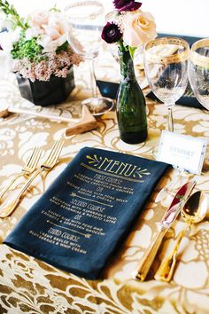 Great Gatsby Birthday Party from Style Me Pretty. Menu printed on the napkin! Great Gatsby Party, The Great Gatsby, 20s Party, Wedding Napkins, Wedding Menu, Mod Wedding, Wedding Reception, Wedding Foods, Wedding Tables