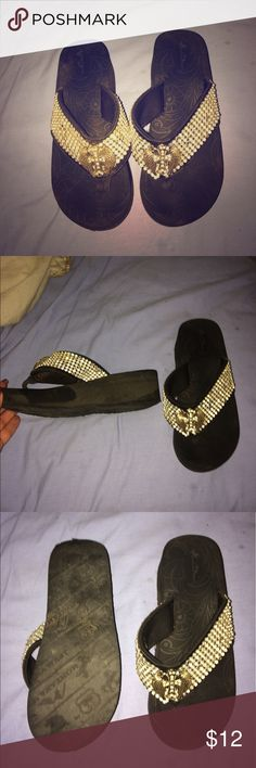 Montana West bling flip flop sandals Size 7 rhinestone wings Montana west high quality sandals Montana West Shoes Sandals