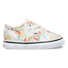 Vans and Disney come together for an enchanting collaboration that features some of the most beloved and iconic Disney Princesses. Bringing to life her everlasting story of adventure, the Ariel Disney Princess Authentic combines the original and now iconic Vans low top style with a custom allover print of Ariel under the sea. The Disney Authentic also includes sturdy canvas uppers, metal eyelets, and signature waffle rubber outsoles.