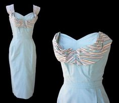 Baby blue 1950's with stripe bust detail