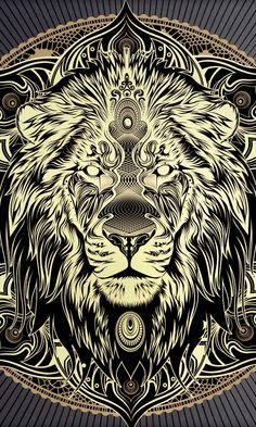 Solid gold lion mandala. Beautiful metallic print.