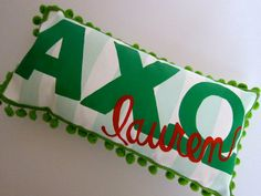 Alpha Chi Omega sorority pillow Personalized by ChartreuseCanary, $27.00