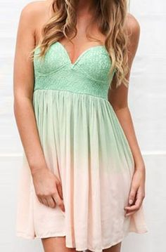 Strapless ombre mint dress