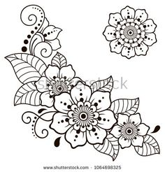 Set of Mehndi flower pattern for Henna drawing and tattoo. Decoration in ethnic … Set of Mehndi flower pattern for Henna drawing and tattoo. Decoration in ethnic oriental, Indian style – Kaufen Sie diese. Henna Hand Designs, Henna Tattoo Designs, Diy Tattoo, Henna Designs Drawing, Henna Flower Designs, Henna Patterns, Zentangle Patterns, Flower Patterns, Embroidery Patterns