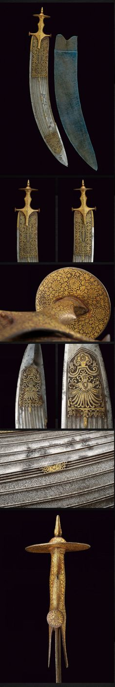 Indian tegha sword, 19th century, overall length 87.5 cm, wide, curved, single-and false-edged blade. The first part is engraved with gilt figures, tigers and birds among floral elements; it has nine grooves at the center, three thin grooves at the back, the tip featuring a cartouche engraved with a deity, damask surface, the opposite side decorated en suite. The big tulwar grip has a wide disk-pommel featuring gilt inlays and floral motifs, wooden scabbard covered in green velvet.