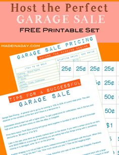 Host the Perfect Garage Sale Printable Set, Free printable price list, garage sale tips and tricks, printable price tag, how to sell and haggle pricing list
