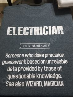 Would make a great Christmas gift for an electrician with a sense of humor! Magician Electrician Tee by DecalsbyJohnna on Etsy