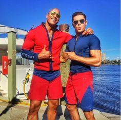 Dwayne Johnson and Zac Efron Share the First #BaywatchMovie Set Photo!