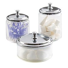 mDesign Bathroom Vanity Glass Apothecary Jars for Cotton Balls Swabs Cosmetic Pads  3pc Set ClearChrome *** You can find out more details at the link of the image.