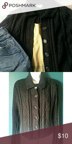 Soft and Cozy Cable Knit Cardigan St John's Bay black cable knit cardigan. Very soft and comfortable. Approximately 21 inches long from shoulder to bottom of hem. 100% acrylic. Sweater is not faded, just sunlight coming through in second pic. St. John's Bay Sweaters Cardigans