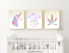 d230a50caae Unicorn Print Set, Set of 3, Unicorn Printable Wall Art, Unicorn Prints for  Nursery, Unicorn Print Watercolor, Gold Glitter, Unicorn Cloud