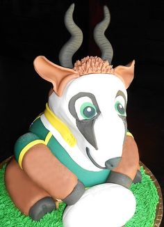 Springbok Mascot Cake Fondant And Sponge Cake Fondant, Safari Theme, Sponge Cake, 4th Birthday, Cake Designs, Rugby, Baking, Disney Characters, Party