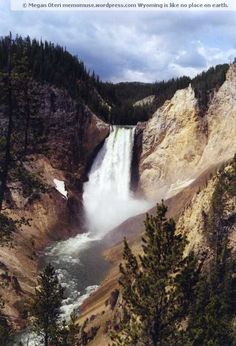 Yellowstone Falls - Wyoming.  Feel free to repin and retweet or what not, it has my watermark on it. Thanks.