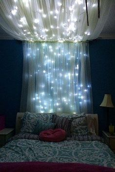 Add some string lights to create a whimsical effect for your bed canopy. http://www.buzzfeed.com/ashleymcgetrick/slumber-party-for-one?crlt.pid=camp.AIGeq84sD4ZU