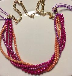 diy collana perle colorata e catena oro