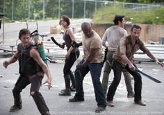 The Walking Dead Season 3 Production Photo: Daryl Dixon (Norman Reedus), Maggie Greene (Lauren Cohan), T-Dog (IronE Singleton), Glenn (Steven Yeun) and Rick Grimes (Andrew Lincoln) in Season 3    Photo by Gene Page/AMC
