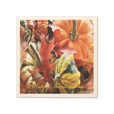Thanksgiving Paper Napkins - Pumpkins Fall Leaves