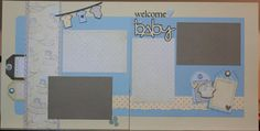 12x12 Premade Scrapbook Page Set  Welcome Baby Boy by SallyCStudio, $13.99