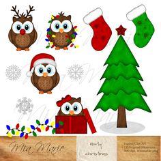 Christmas Clipart, owl clipart, owl clip art, reindeer, christmas tree, christmas lights, stocking, snowflake, gift, present, santa