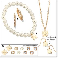 "Avon: ROSETTE TOUCHES COLLECTION   Lady-like faux pearls with acrylic rose accents set in goldtone.     Hoop Earrings   Faceted faux pearls. Pierced hoops,    Stretch Bracelet   Faux-pearl stretch bracelet with an acrylic rose charm.   Necklace and Earring Gift Set   Graduated faux-pearl accents on a 16"" L chain   5-Pairs of Earrings Set   A five-pair set of pavé accents, acrylic stones and faux-pearl pierced studs."