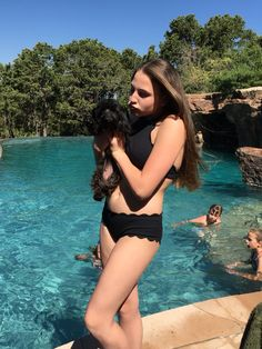 Black, scalloped bathing suit Everything but water