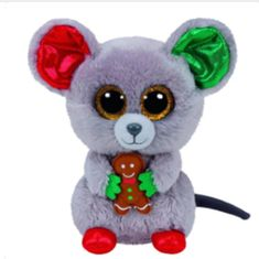 Mac The Christmas Mouse Ty Beanie Boos are the cutest collectible plush friends in the world. From Unicorns to puppies and cheeky raccoons, there is a Beanie Boo friend for everyone. Ty Animals, Ty Stuffed Animals, Plush Animals, Stuffed Toy, Beanie Babies, Ours Boyds, Peluche Lion, Ty Toys, Cute Beanies