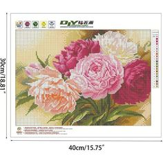Peony Flowers 5D Diamond Painting Kit Full Area Diamond Painting Round Diamond With Up to 30 Colors Canvas Size: 40 x 30 CM / 16 x 12 Inch (approx.) Please Allow 15-30 Days Delivery