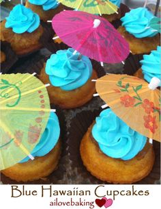 Blue Hawaiian Cupcakes