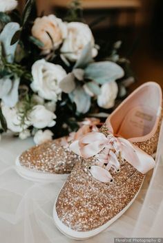 Wedding shoes for bride - sparkly pink tennis-shoes with  ribbon shoe laces {Florafost Photography}