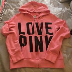 Soft bright pink full zip hoodie size medium GUC! Only defect is on sleeve cuff (see pic). Very minimal piling from normal wash and wear. Super soft and fluffy inside! Size medium. Smoke free home. BUNDLE DISCOUNT!😉 PINK Victoria's Secret Tops Sweatshirts & Hoodies