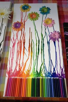 Crayon art with flowers
