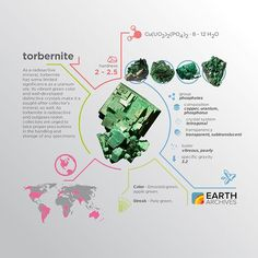Both metatorbernite and torbernite are named after the Swedish chemist Tornbern Bergmann. #science #nature #geology #minerals #rocks #infographic #earth #metatorbernite #torbernite