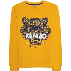 KENZO Sweater Tiger Marigold // Cotton sweater with logo embroidery ($285) ❤ liked on Polyvore featuring tops, sweaters, cotton sweaters, yellow crew neck sweater, ripped sweaters, ribbed crew neck sweater and distressed sweater