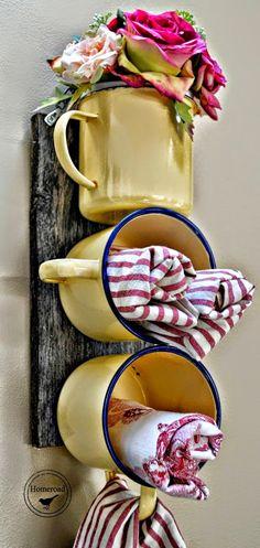 Artesanato Fofo: Porta panos de prato feito com canecas