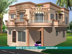 House front elevation design, view, interior design images in Pakistan. 5 Marla, 10 Marla, 1 Kanal house designs ideas pictures in Pakistan - Waris. Front Elevation Designs, House Elevation, House Front Design, Small House Design, 10 Marla House Plan, Circle House, Modern Bungalow House, Modern Houses, House Map