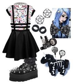 """""""Pastel goth"""" by hisinfernalzombie ❤ liked on Polyvore featuring Hue and T.U.K."""