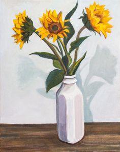 Three Sunflowers | Acrylic on Canvas | Allyson Kramer, 2015 Buy Prints, Sunflowers, Third, Canvas, Painting, Art, Tela, Art Background, Painting Art
