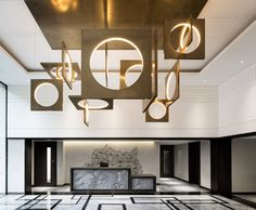 the interior design project you need to see. Playing their cards right, this modern home interior has conquered our hearts and at Lobby Interior, Interior Lighting, Lighting Design, Interior Architecture, Lighting Ideas, Deco Luminaire, Luminaire Design, Hotel Reception, Reception Design