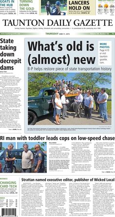 The front page of the Taunton Daily Gazette for Thursday, June 11, 2015.