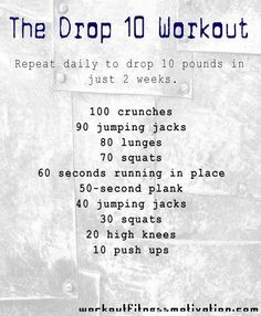 Not sure about 10 pounds in two weeks, but this is a good conditioning workout a lot like what we used to do in gymnastics every day.